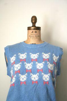 vintage sweater vest KITTY CAT fair isle 1980's silk & angora blend / powder blue.
