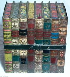 "SUPERB ANTIQUE HUNTLEY+PALMER'S""LITERATURE""BOOKS FIGURAL BISCUIT TIN c1901"