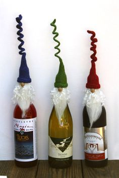 Curly Santa wine topper, Wine cork topper, Santa wine bottle cover, Christmas ornament, bearded Santa, PICK Hat Color by CurlyTailCrochet on Etsy