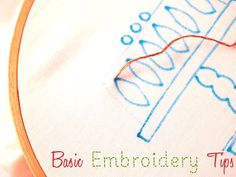 Great, easy-to-understand basic embroidery stitch tutorials. Back stitch, Stem stitch, French knot, lazy daisy, blanket stitch. | via Flamingo Toes