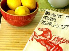 Kitchen towel housewares pegasus tea towel retro by MoxieMadness, $10.00