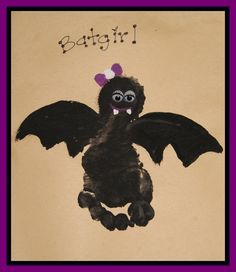 Footprint BAT! Happy Halloween.  Daily activities and projects on Facebook https://www.facebook.com/toddlertimetips