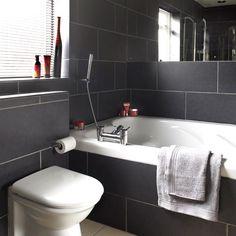 Charcoal tiled bathroom | Black and white bathroom designs - 10 best | housetohome.co.uk