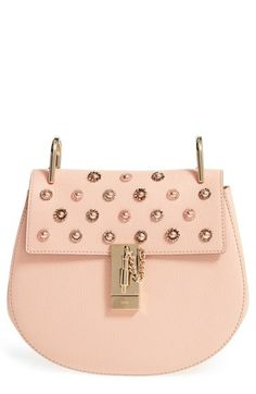 CHLOÉ 'Small Drew' Goatskin Leather Shoulder Bag. #chloé #bags #shoulder bags #crystal #suede #lining