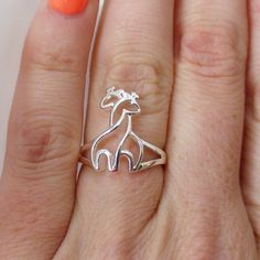 $20 Sterling Silver Two Giraffes Ring