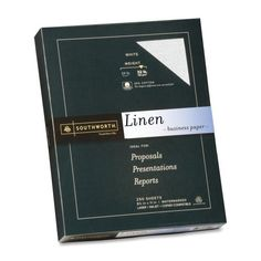 Wholesale CASE of 10 – Southworth 25% Cotton 32lb Linen Business Paper-Fine Linen Paper, 32 lb, 8-1/2″x11″, 250/BX, White  Linen business paper features 25 percent cotton content for texture and a fine linen finish. Ideal for letterheads, reports and presentations. Each premium weight sheet is acid-free, watermarked and date-coded. Paper is compatible with laser printers, inkjet printers and copiers. 32 lb. paper is made with a high percentage of recycled material. Southworth Southwo..
