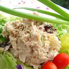 Cranberry Chicken Salad: Dried cranberries, chicken, green apple, green onion, mayo, pecan