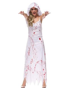 Hamour Womens' Ghost Bride Zombie Wedding Fancy Dress Costume on Wedding Ideas 7146 Zombie Bride Costume, Couple Halloween Costumes, Halloween Cosplay, Cosplay Costumes, Zombie Wedding, Wedding Photo Booth Props, White Dresses For Women, Corpse Bride, Fancy Dress Outfits