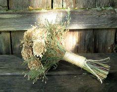 Rustic Ivory & Sage Woodland Wedding Bouquet  by SeasonalBounty, $60.88