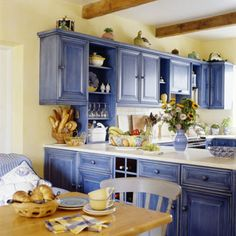 Blue and Yellow Kitchen Decor . 24 Unique Blue and Yellow Kitchen Decor . How to Decorate the Kitchen Using Yellow Accents Blue Kitchen Cabinets, Kitchen Cabinet Colors, Painting Kitchen Cabinets, Kitchen Paint, Kitchen Redo, New Kitchen, White Cabinets, Colored Cabinets, Closed Kitchen