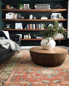 Rejuvenation Langdon Hand-Knotted Rug – Alex Rejuvenation Langdon Hand-Knotted Rug Langdon Hand-Knotted Rug – love the deep teal walls and live edge shelves too Home Office Design, Home Office Decor, House Design, Home Decor, Interior Office, Room Interior, Office Ideas, Living Room Inspiration, Inspiration Wall