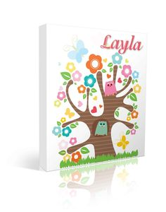 Owl tree with flowers and butterflies in this custom named canvas art piece!