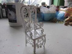 Wire chair Dollhouse Supplies Patio Garden by CulberryMountain
