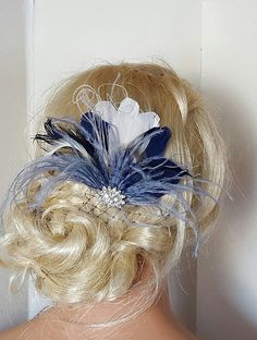 Navy Blue Hair Fascinator, Feather accessories.  Great Gatsby,  Wedding Hair Clip, Bridal Hair Clip, Feather Hair Clip, Feather Fascinator; The feather fascinator is appx 4 inches tall and 4 inches wide. $38