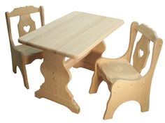 Childs Table and Heart Chairs - Solid hardwood kids furniture, finishes and stains customizable.