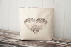 LOVE Languages Tote Bag  Coffee on Natural  by BucktoothedBunny, $18.00