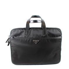 Wall Pockets, Black Nylons, Briefcase, Prada, Campaign, Zipper, Medium, Check, Leather
