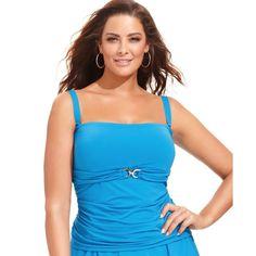 92177c6c37689 Nwt  110 Michael Kors Bandini Bandeau Blue Tankini Swimsuit Top Plus Size  Womens  MichaelKors