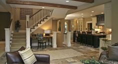 Craftsman Great Room - perfect staircase placement leading to bonus room and 2nd master suite