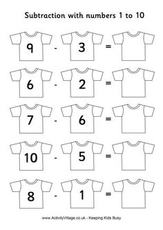 Football shirts subtraction 1 to 10