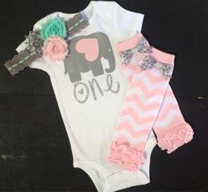 Elephant first birthday girl outfit, gray, aqua, and pink by PaisleyPrintsSpokane on Etsy