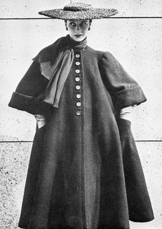 Gigi in Balenciaga's wool coat that shows the couturier's mastery of structured shapes and the fineness of seaming and darting, 1951 1950s Fashion, Fashion Wear, Couture Fashion, Love Fashion, Runway Fashion, Vintage Fashion, Fashion Design, Balenciaga First, Balenciaga Vintage