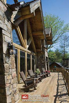 Exterior Deck View | PrecisionCraft Homes by PrecisionCraft Log Homes & Timber Frame, via Flickr
