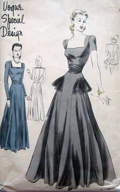Dramatic Evening Gown Pattern 1940s Deep Square Neckline Fitted Bodice and Flared Skirt with Peplum Drop Waist. Floor length dress has moulded bodice with gathered fullness across front waist. Circular skirt. Deep square neck-line. Long fitted or very short darted-top sleeves. Centre-back bodice seam may be left open and fastened with loop and buttons. Front skirt panel in one with bodice. Side and back skirt sections join in a shaped hip seam. A rippled peplum ending in front panel seams is…