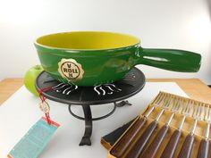Stockli Von Roll Sweden Fondue Pot Set - Green Yellow Enamel Cast Iron - Mid Century Vintage