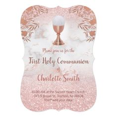 pink glitter on marble first communion invitation   Zazzle.com