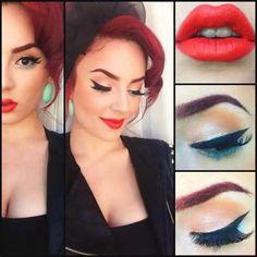 Pin up girl make up ideas Pin Up Makeup, Makeup Tips, Beauty Makeup, Makeup Looks, Eye Makeup, Hair Beauty, Makeup Style, Makeup Ideas, Pin Up Vintage