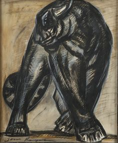Jean Royer (20th century),La Panthère.Drawing with grease pencil, charcoal and chalk,44 x 36cm.