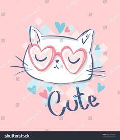 cute cat sketch vector illustration, children print on t-shirt girl. hand drawn cat with glasses - compre este vetor na Shutterstock e encontre outras imagens. Illustration Mignonne, Cute Cat Illustration, Illustration Children, Cute Sketches, T Shirt Painting, Cat Sketch, Kids Prints, Cat Design, Cat Art