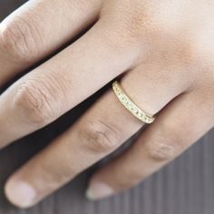 half eternity band ring, wedding band, 14k gold, 18k gold, annivarsary ring for women, gem stone pave band
