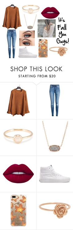 """""""It's fall you guys!"""" by delaney51504 ❤ liked on Polyvore featuring H&M, Kendra Scott, Lime Crime, Vans and Casetify"""