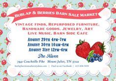 The Barn Sale Business - Burlap & Berries Barn Sale Market in Mount Juliet! Antique Shops, Vintage Shops, Jewelry Show, Flea Markets, Repurposed Furniture, Design Show, Tennessee, Burlap, Berries