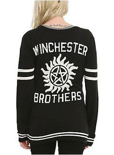 <p>Black knit cardigan from <i>Supernatural</i> with embroidered logo on front and intarsia knit design on back.</p><ul> <li>52% cotton; 48% acrylic</li> <li>Wash cold; dry low</li> <li>Imported</li> <li>Listed in junior sizes</li></ul>