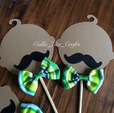 Green and Blue Little Man Theme set for centerpieces. babies with mustache    https://www.etsy.com/shop/CallaLitaCraftShop  https://instagram.com/calla_lita_crafts/