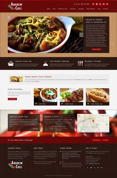 Design for Anaheim Chili in Huntsville, AL. Customized from our Harvest & Harvest Restaurant, Banquet, Catering, Chili, Bakery, Web Design, Beef, Dining, Food