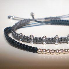 Micro macrame bracelet with silver balls