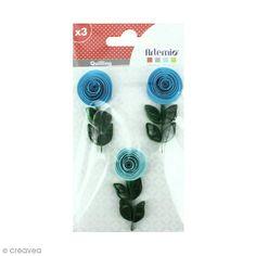 Stickers Quilling - Rose - Coloris Bleu - 3 pcs