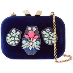Kotur Small Floral Embellished Velvet Clutch ($229) ❤ liked on Polyvore featuring bags, handbags, clutches, multi, chain strap handbag, chain handle handbags, pocket purse, velvet handbag and kotur handbags