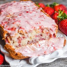 this fresh strawberry bread with melt-in-your-mouth strawberry glaze. This q Try this fresh strawberry bread with melt-in-your-mouth strawberry glaze. -Try this fresh strawberry bread with melt-in-your-mouth strawberry glaze. Cherry Bread, Fruit Bread, Dessert Bread, Strawberry Bread Recipes, Strawberry Glaze, Strawberry Butter, Strawberry Muffins, Recipes With Fresh Strawberries, Easy Strawberry Desserts