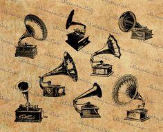 Digital SVG PNG gramophone record player vintage gramophone