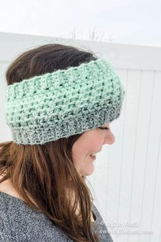 Crochet Beanie Design Wintermint Ear Warmer Crochet Pattern PDF Printable Modern Headband in Child and Adult Sizes - Crochet Simple, Crochet Diy, Crochet Gifts, Learn Crochet, Double Crochet, Bonnet Crochet, Crochet Headband Pattern, Crochet Headbands, Crochet Ear Warmer Pattern