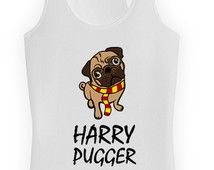 Funny Dog Tank Harry Pugger Pug Clothing Wizard Top Movie Parody Dog Lover Gift Dog Owner American Apparel Racerback Tank Ladies Tank WT-321
