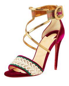 24924eb43a2 Christian Louboutin Sabina Velvet Red Sole Sandal. Velvet ShoesHeeled ...