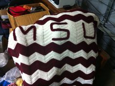 Mississippi State University Crochet Initial Throw in by Bisdoggie, $75.00