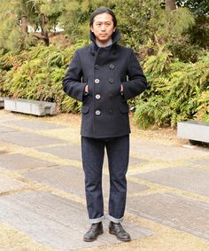 Man from Beams Fennica - Navy Reefer, denims and boots.