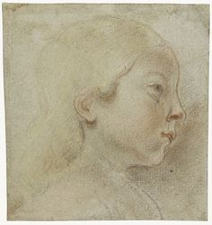 Jacob Jordaens Head of a child, to the right 1603 - 1678 chalk on grey paper Rijksmuseum Amsterdam